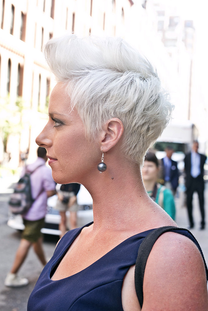 This structured mohawk looked even more cool thanks to this girl's white-hot color job.  Photo by Caroline Voagen Nelson