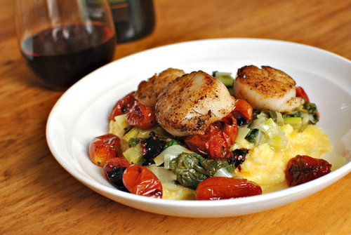 Seared Scalloped with Tomatoes, Leeks, Spinach and Polenta