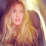 Doutzen Kroes caught a solo flight to Miami.  Source: Instagram user doutzenkroes1