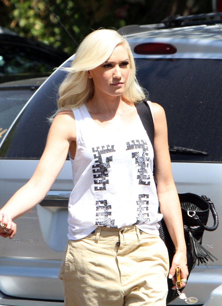 Gwen Stefani arrived at a studio in Burbank, CA.