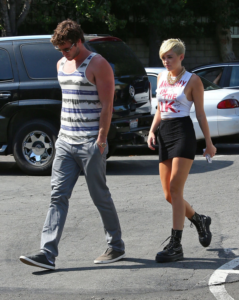 Liam Hemsworth and Miley Cyrus walked into Whole Foods in LA.