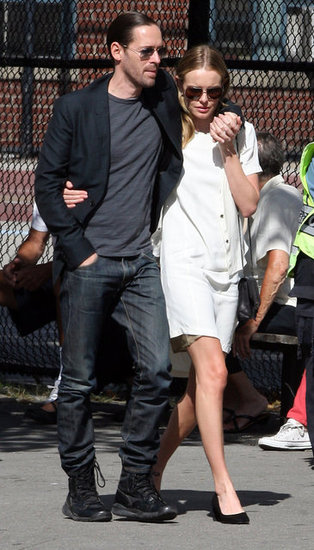 Michael Polish had his arm around fiancée Kate Bosworth to visit Ground Zero.