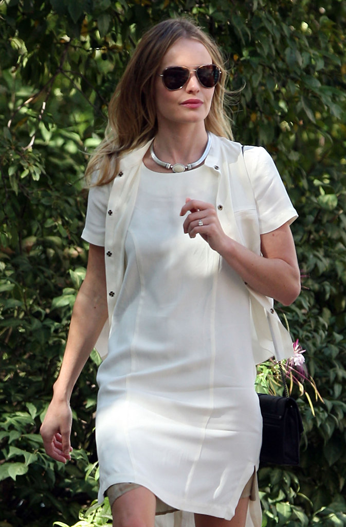 Kate Bosworth was dressed in white to visit Ground Zero in NYC.