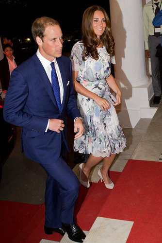 She stepped out in a pretty floral-print Erdem dress and suede pumps for the couple's evening affairs.
