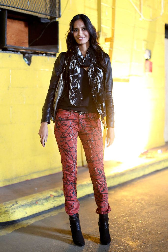 Scribbled skinnies to match an edgy leather jacket and boots.