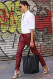 These oxblood leather pants are the kind you could build every outfit around for an always-cool effect.