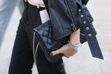 Quilted leather against a ladylike quilted bag — we love it.