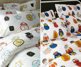 Garnet Hill Retro Clock and Owl Percale Bedding ($30-$115)