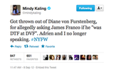 Mindy Kaling shared some hilarious fake Fashion Week tweets.