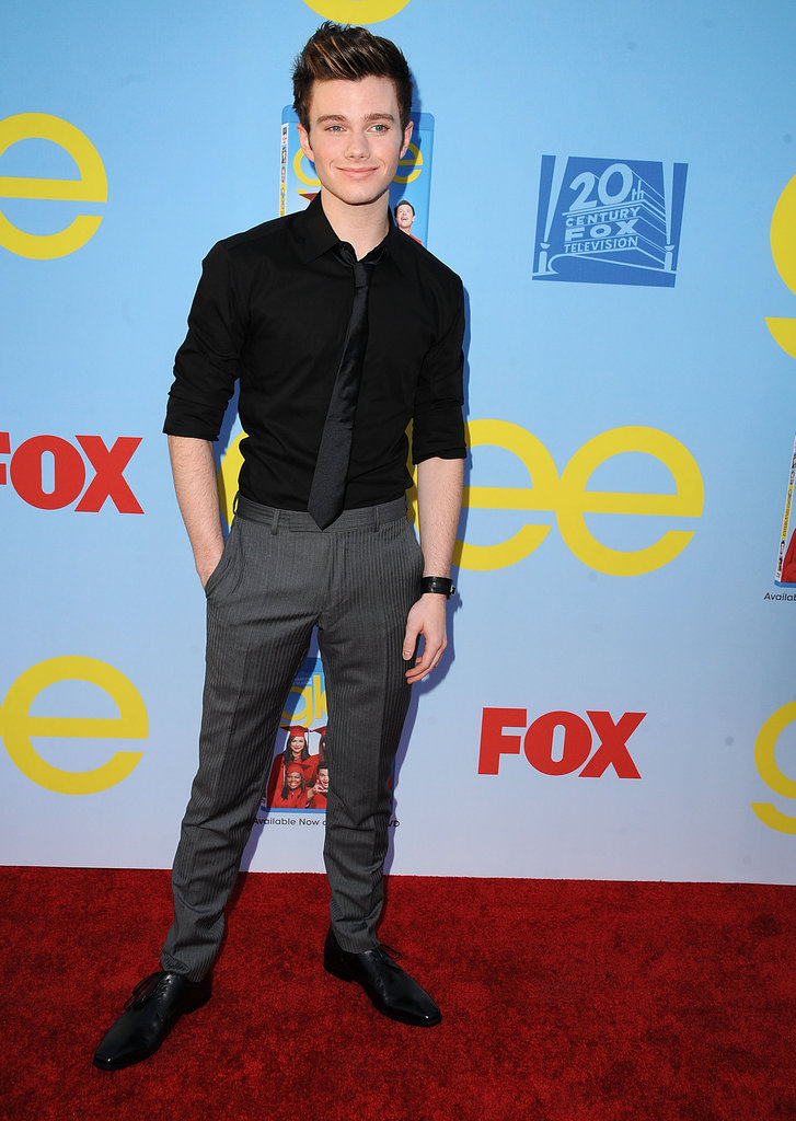 Chris Colfer rocked a black button-up on the red carpet.