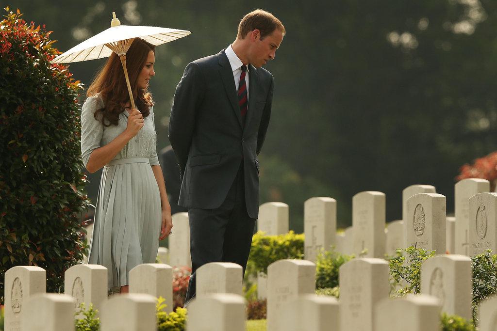 Prince William and Kate Middleton made their way through the Kranji War Memorial in Singapore.