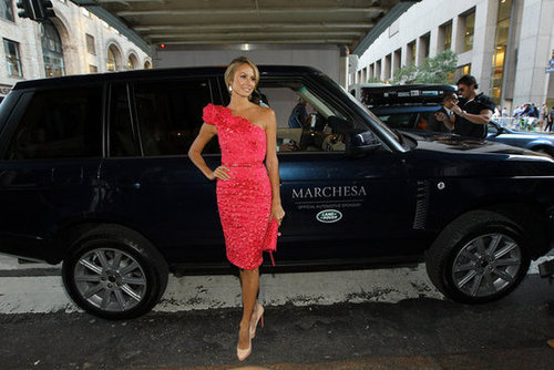 Stacy Keibler got a lift to the show in a black Ranger Rover.