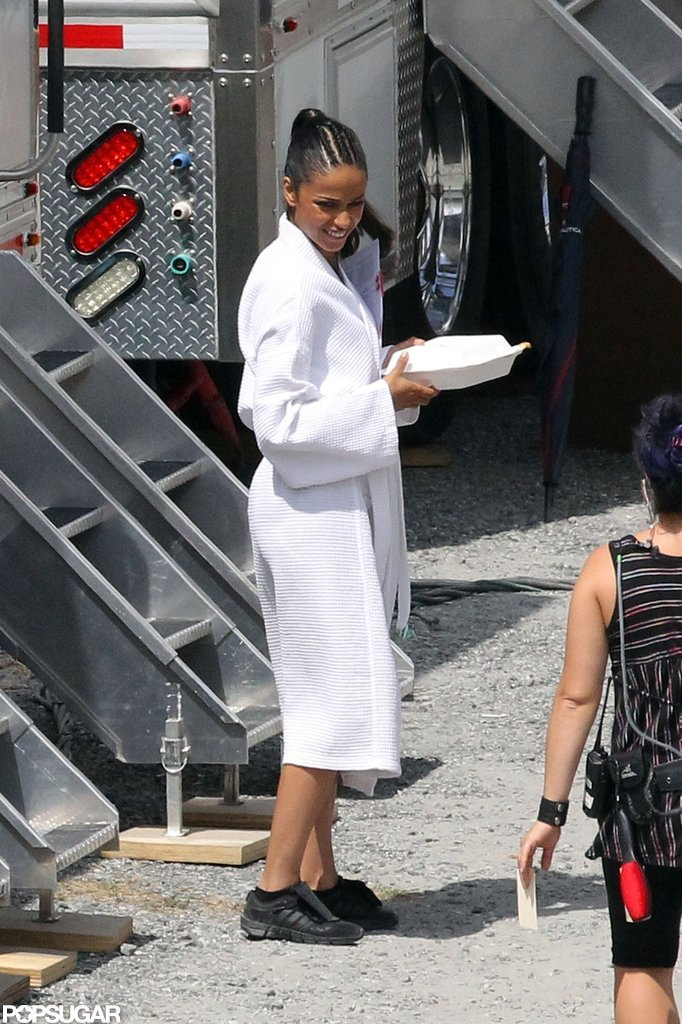 Meta Golding was spotted on the Catching Fire set in Atlanta.
