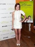 Emma Watson posed in a brood minidress.