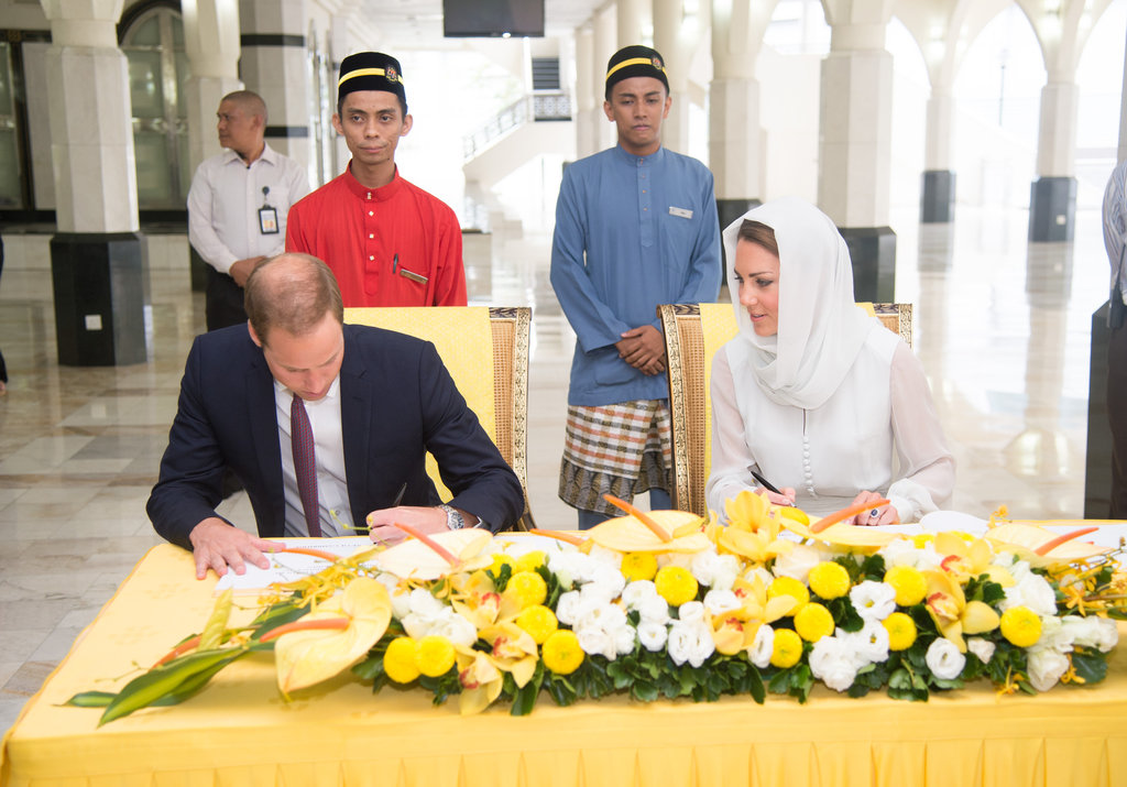 On day four of their tour of the Far East, Will and Kate visited a mosque in Malaysia.