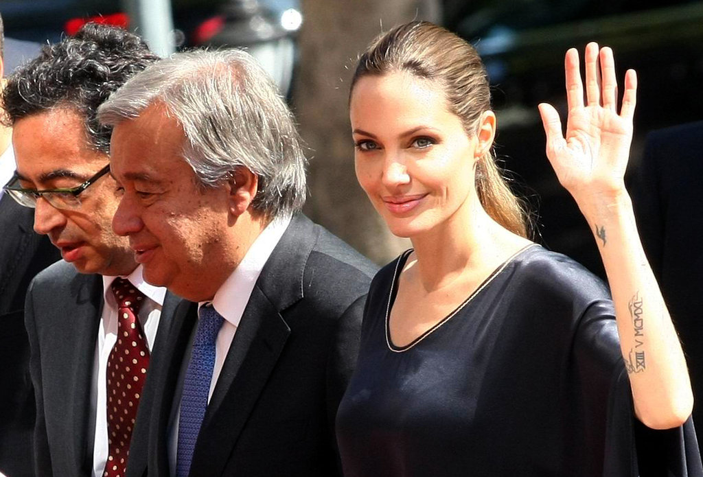 Angelina Jolie greeted the crowd in Turkey.
