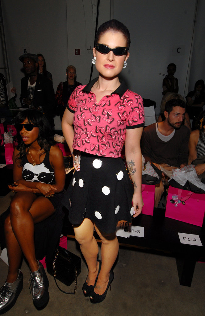 Kelly Osbourne went retro for the Gerlan Jeans show.
