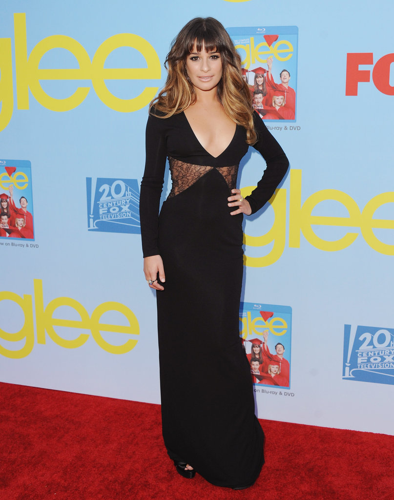 Lea Michele celebrated a new season of Glee in a sultry Versace gown, complete with sheer lace insets.
