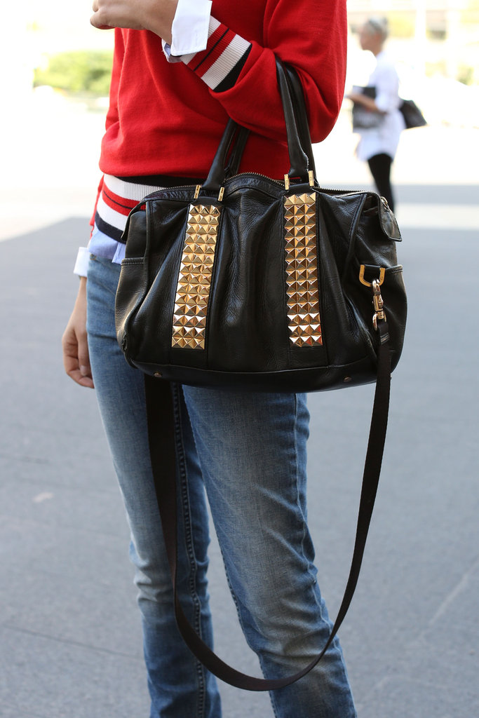 Gold studs upped the ante on a staple black bag.