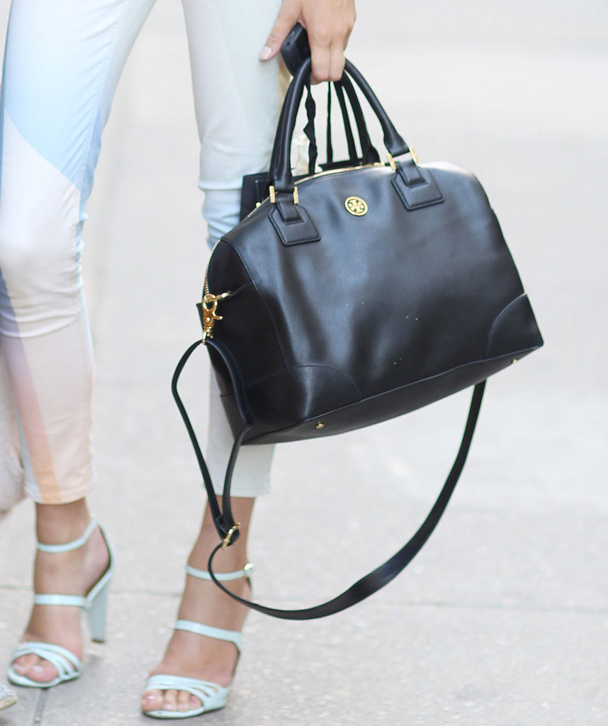 This classic-feeling Tory Burch duffel grounded light denim and strappy pastel heels. Source: Greg Kessler