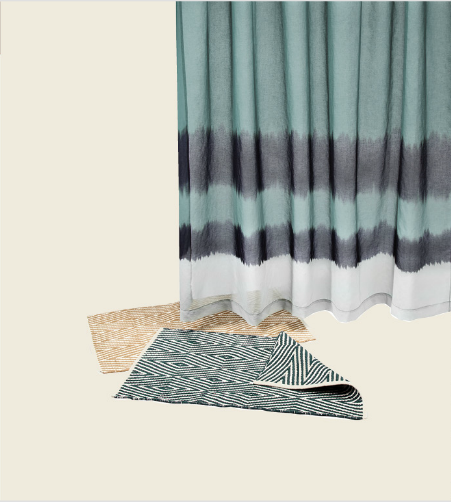 Dip-Dyed Shower Curtain in Agean Sea ($25), Aztec Diamond Bath Rug in Ultramarine and Wheat
