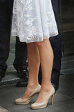 Kate's trusty L K Bennett pumps were back on.