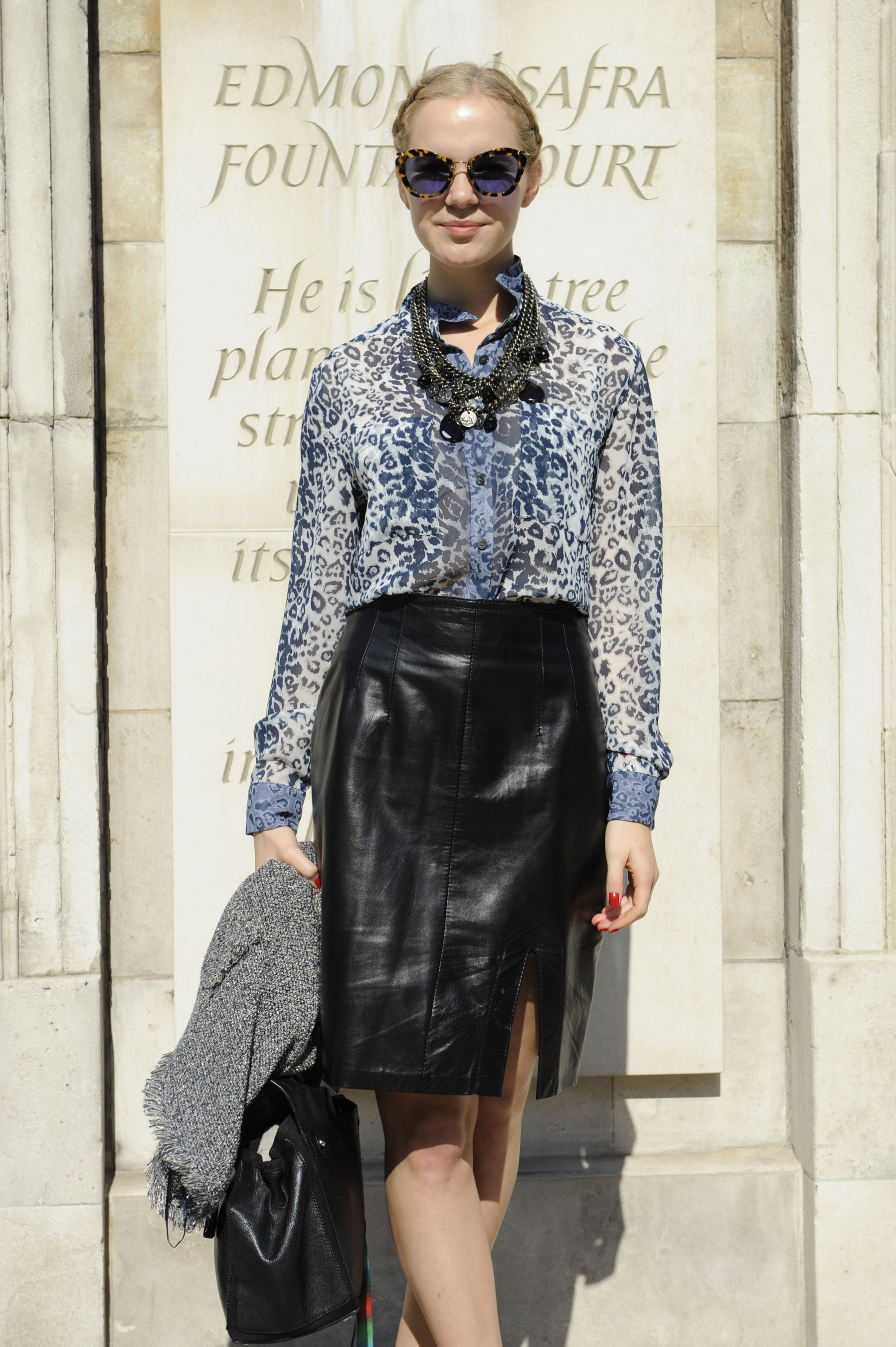 This leather pencil skirt got the exotic print one-two punch.