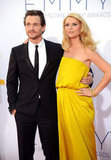 Expectant Homeland star Claire Danes stood by her husband, Hugh Dancy, before winning an Emmy for her role.