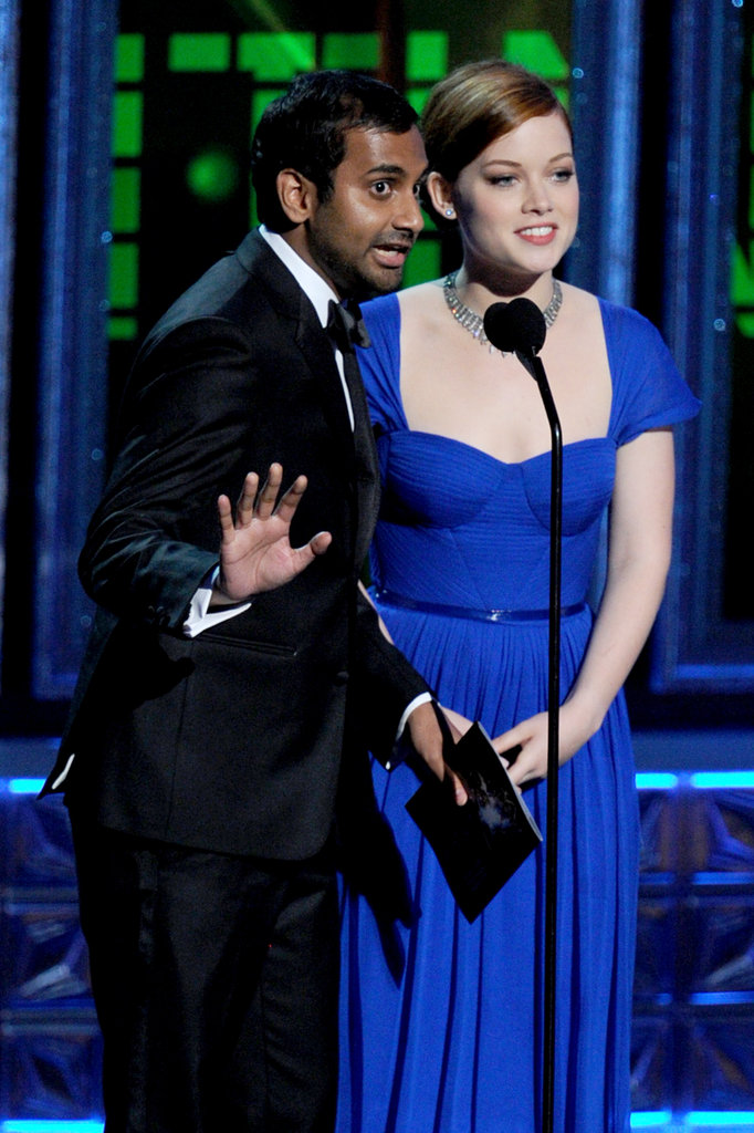 Presenting alongside Jane Levy, Aziz Ansari decided to fake a British accent to be taken more seriously.
