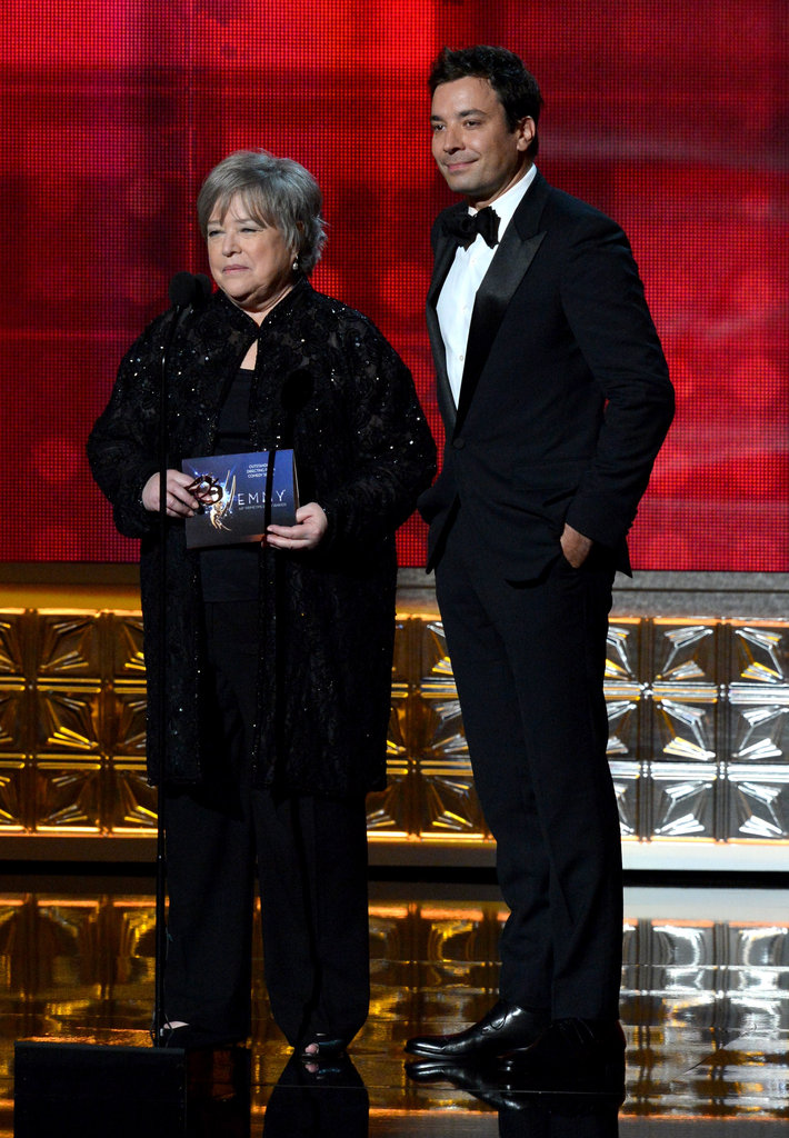 Kathy Bates and Jimmy Fallon stood on stage together.
