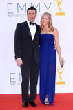 Nominee Jon Hamm stayed close to his long-time girlfriend, Jennifer Westfeldt.