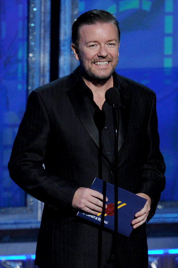 Comedian Ricky Gervais gave a shout-out to Louis C.K. while presenting an award.
