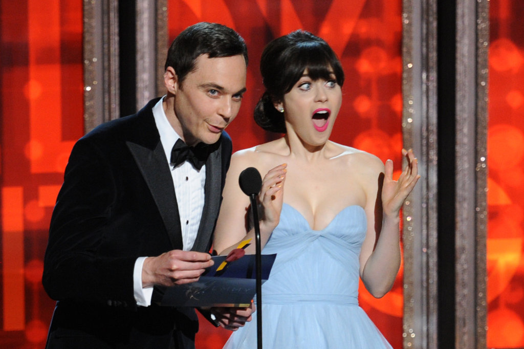 Jim Parsons and Zooey Deschanel joked around on stage.