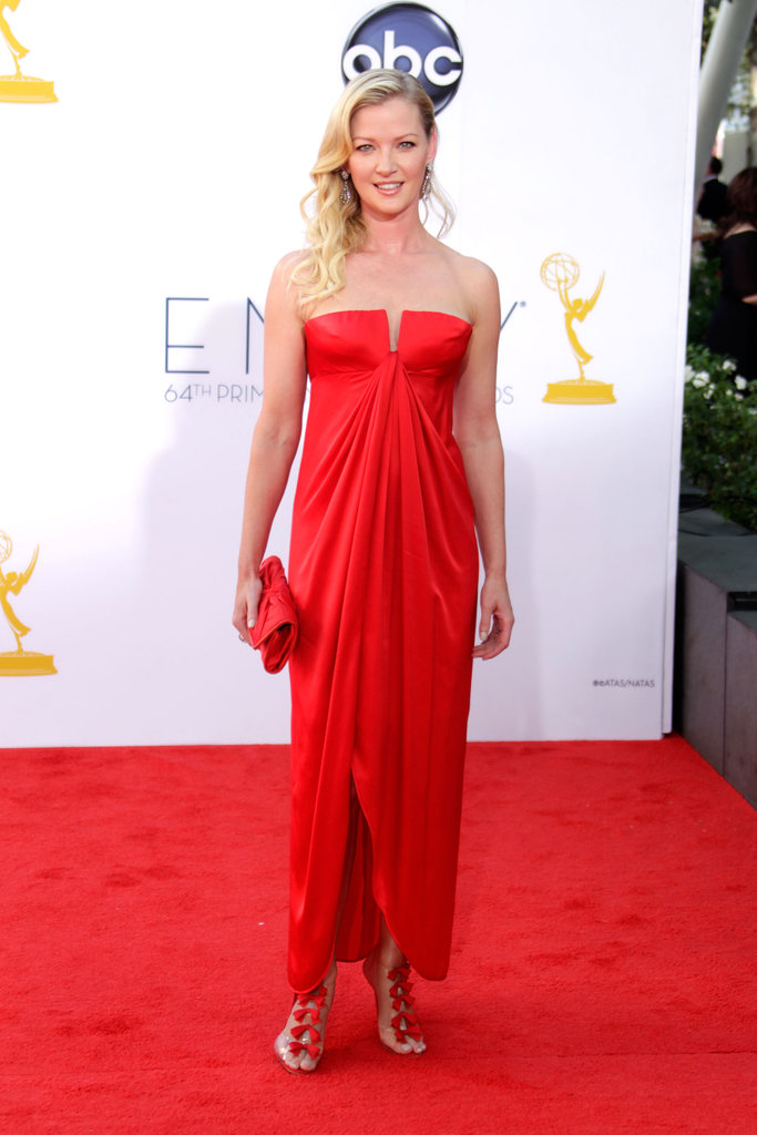 Gretchen Mol sported a red dress.