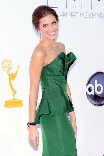 Allison Williams stunned in a green peplum dress.