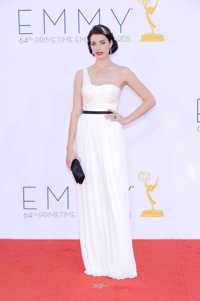 Jessica Paré wore a white gown at the Emmys.
