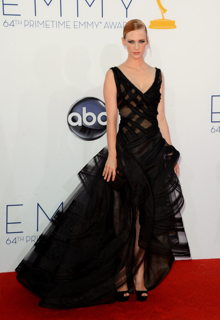 January Jones Goes Bold in Black at the Emmys