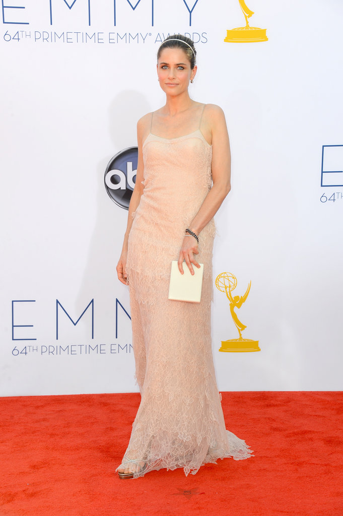 Mom of two — Frankie, 5, and Molly, 2 — Amanda Peet went with a nude dress for the Emmys.