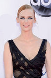 January Jones wore her hair back in a chignon for the Emmy Awards.