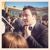 Jimmy Fallon perfected his bow tie.  Source: Instagram user entertainment_weekly