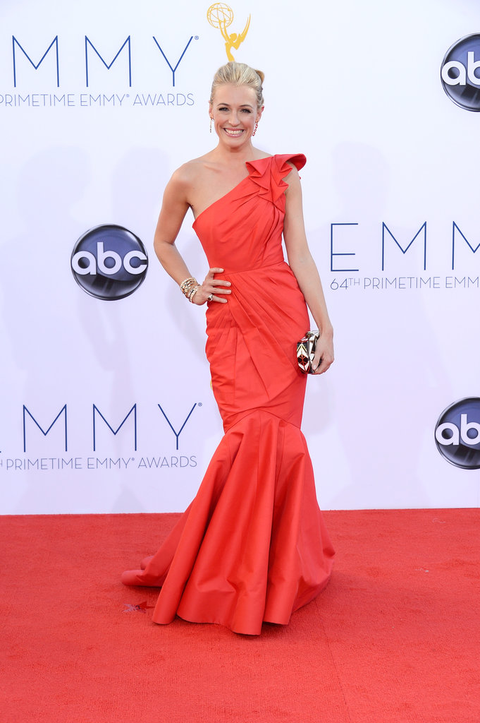 Cat Deeley rocked an A-line red dress.