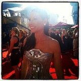 Lucy Liu looked amazing in a unique, silver metallic gown.  Source: Instagram user instylemagazine