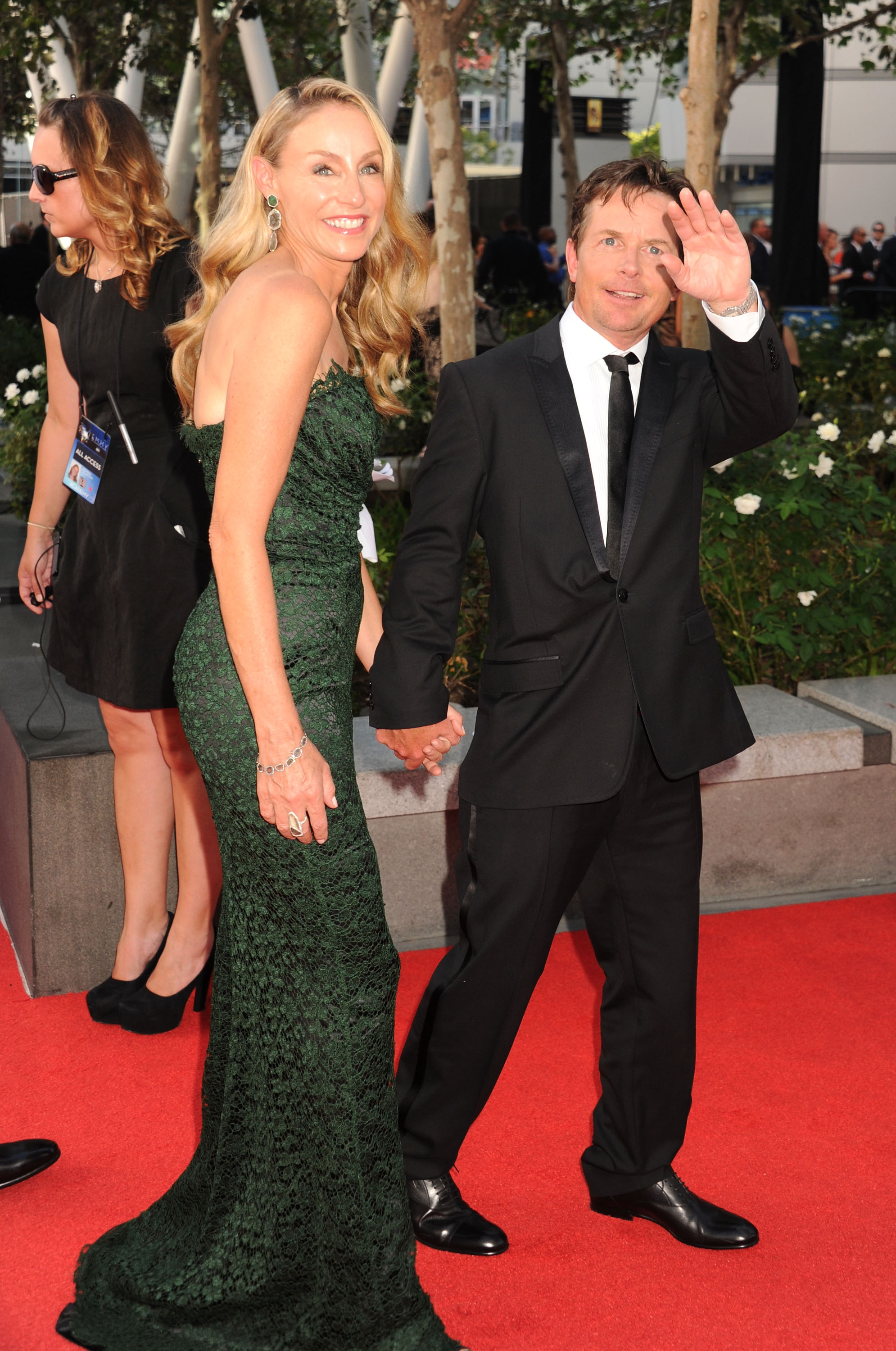Michael j fox and tracy pollan walked the carpet holding for Michael j fox and tracy pollan love story