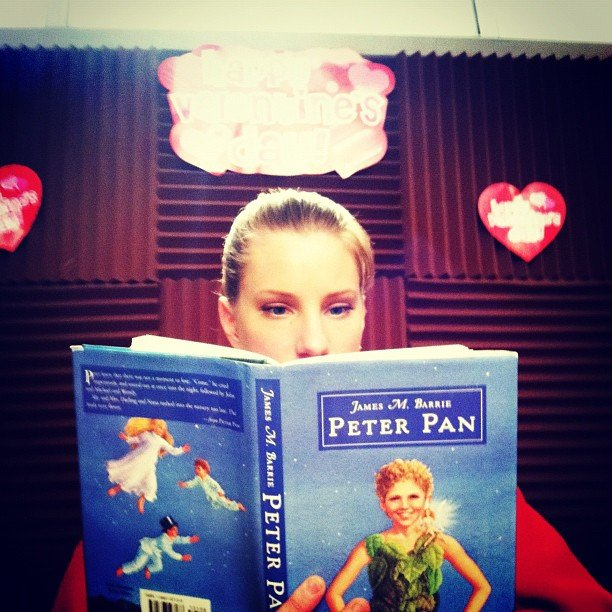 Heather Morris proves she's more scholarly than her Glee character between takes. Source: Instagram user chordover