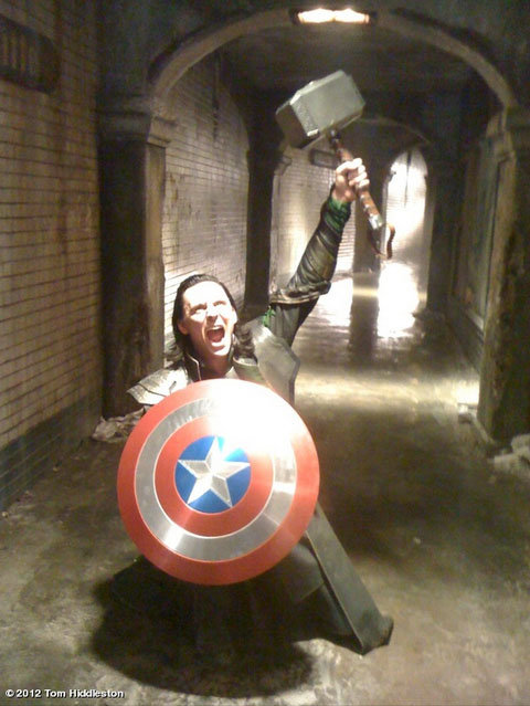 Tom Hiddleston had some fun with props on the set of Thor: The Dark World. Source: Tom Hiddleston on Who Say