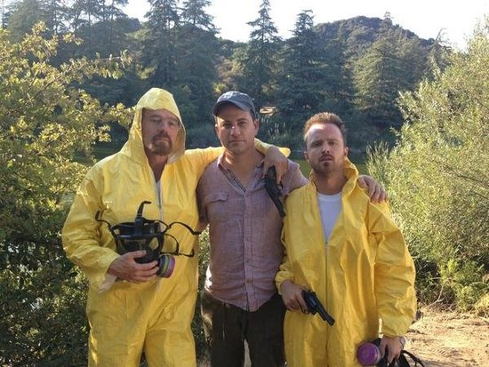 "Jimmy Kimmel tweeted out a pic of himself and Breaking Bad's Bryan Cranston and Aaron Paul ""foreshadowing"" his Emmy hosting gig.  Source: Twitter user JimmyKimmel"