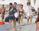 Kate Moss and Jamie Hince hung out on the beach with friends in Ibiza in September 2012.