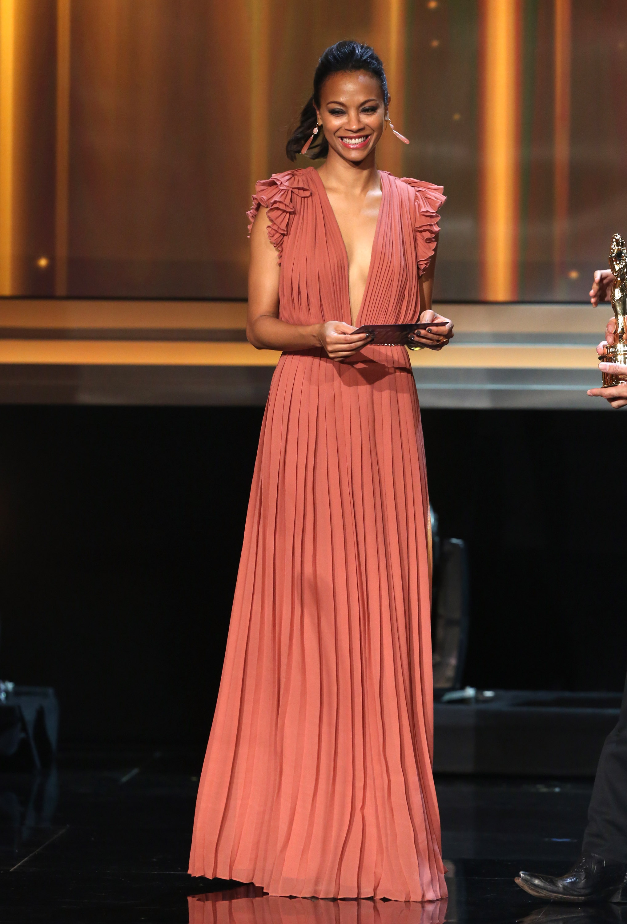 Zoe Saldana hit the stage at the ALMA Awards in LA.