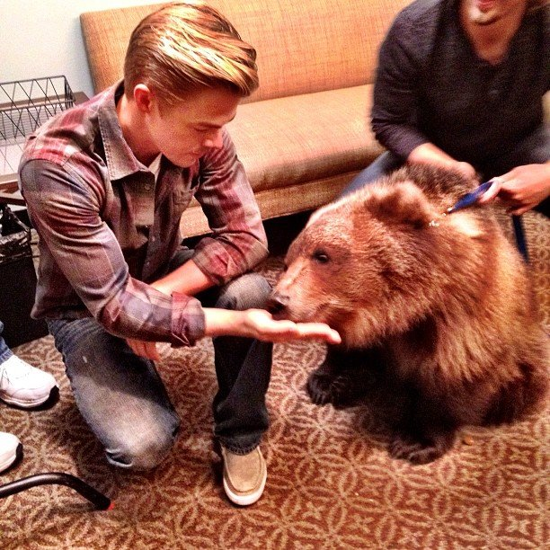 Derek Hough got close and personal with a bear.  Source: Instagram user derekhough