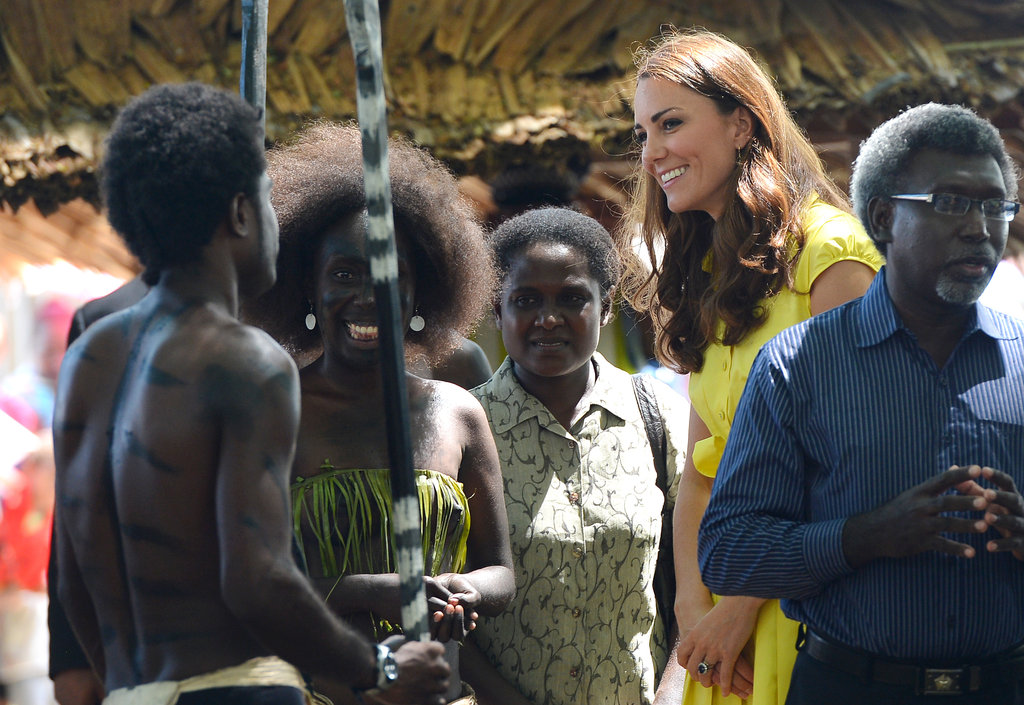 Kate Middleton greeted women at the Leaf House in the Soloman Islands.
